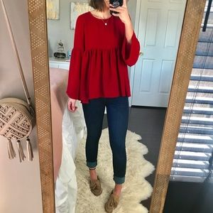 SHEIN Red Bell Sleeve Top